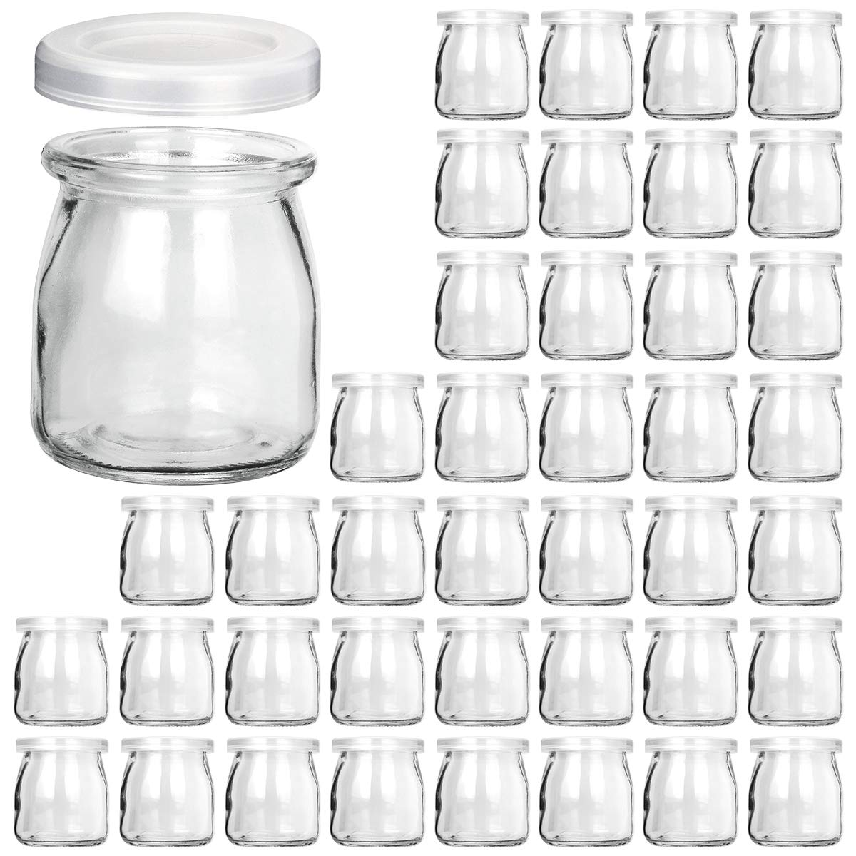 Glass Jars, KAMOTA 40 PACK 6oz Clear Yogurt Jars With PE Lids, Glass Pudding Jars Yogurt Jars Ideal for Jam, Honey, Wedding Favors, Shower Favors, Baby Foods (200ml)