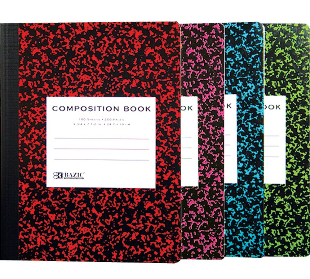 Bazic Composition Book, Wide Ruled, Assorted Colors Marble, 100 Sheets (Case of 48)