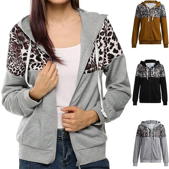 MEIbax Moda mujer abrigos y tops calientes Chaqueta con Estampado de Leopardo de otoño Invierno para Mujer Abrigo de suéter con Capucha Sudadera con ...