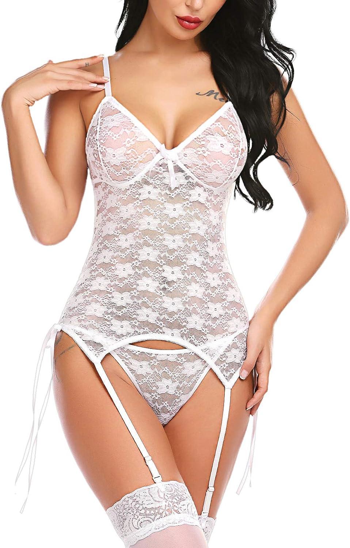 Avidlove Women Lingerie Teddy Bodysuit with Garter Belt Lace Babydoll Full Slips No Stockings