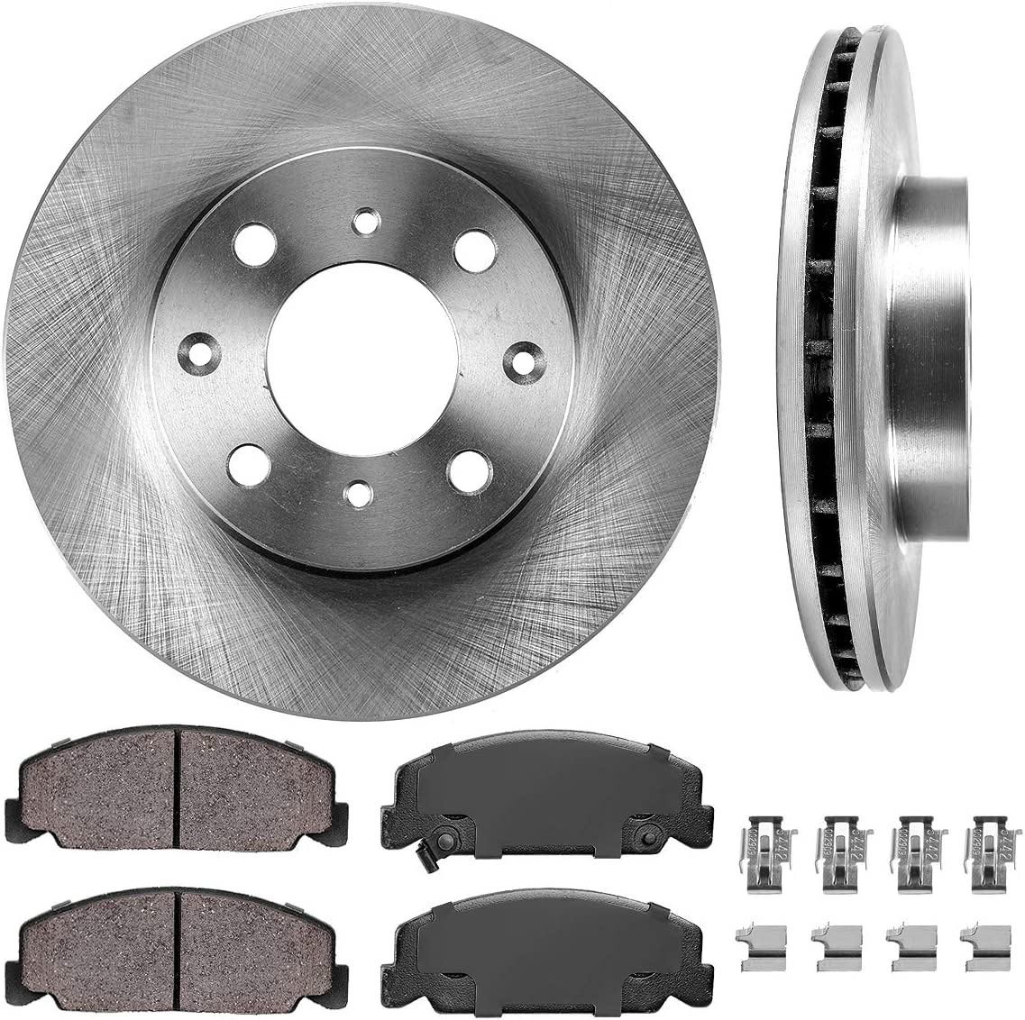 1999-2000 Honda Civic DX HX GX LX Front Brake Disc Rotors /& Ceramic Pads