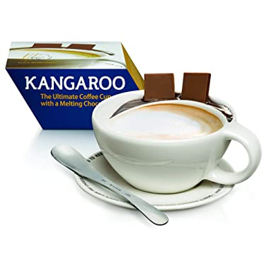 The Kangaroo Ultimate Coffee Cup with Melting Chocolate Pouch, Mix Lick Spoon, and Saucer: White Ceramic with Handle, Plate, and Stirrer by Max Brenner