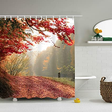 Amazoncom Bestas Autumn Daylight Fall Shower Curtain
