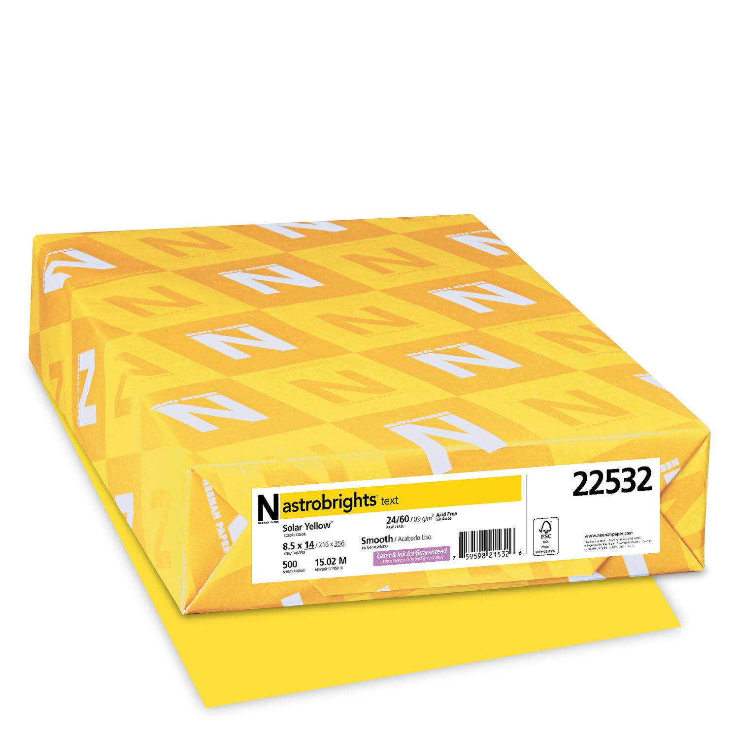 Wausau Astrobrights Heavy Duty Paper, 24 lb, 8.5 x 14 Inches, Solar Yellow, 500 Sheets (22532)