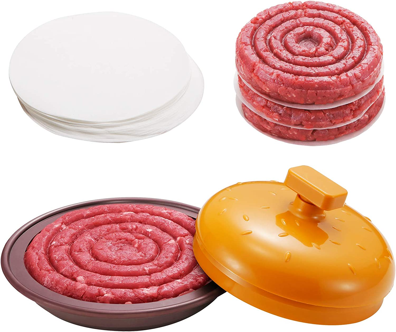 Unicook Burger Press, Non-Stick Hamburger Patty Maker Press with 100 Wax Patty Papers, Making ¼ to ½ Pound Professional Stuffed Burgers Patties, Perfect for Kitchen, BBQ and Grilling