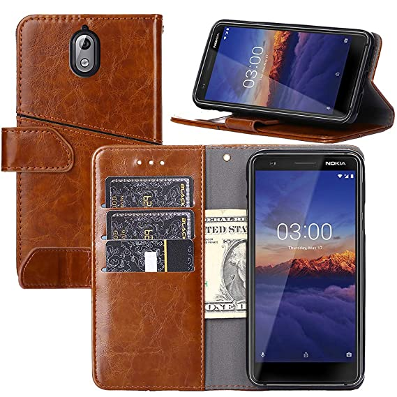 new concept c5bc5 4d796 Nokia 3.1 Case,YEEGG Flip Cover Leather, Phone Wallet Case for Nokia  3.1(2018) - Brown