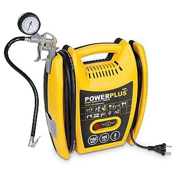 Varo POWX1705 - Compresor de aire a presión portátil (1100 W, máximo 8 bar, incluye accesorios): Amazon.es: Bricolaje y herramientas