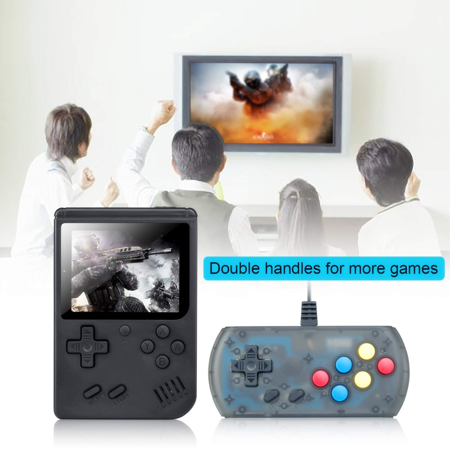 weikin Handheld Game Console, 168 Classic Games 3 Inch LCD Screen Portable Retro Video Game Console Support for Connecting TV and Two Players, Good Gifts for Kids and Adult. by weikin (Image #9)