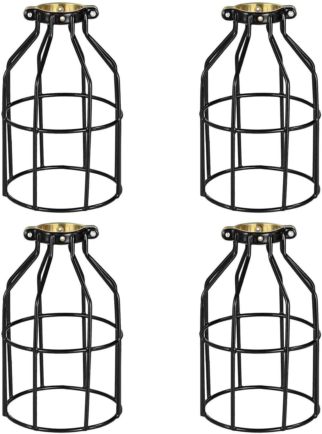 Simple Deluxe HILAMPCAGEX4 4-Pack Adjustable Industrial Clamp On Metal Bulb Guard Cage for Pendant Vintage Lamp Holder and Ceiling Fan Light, Black