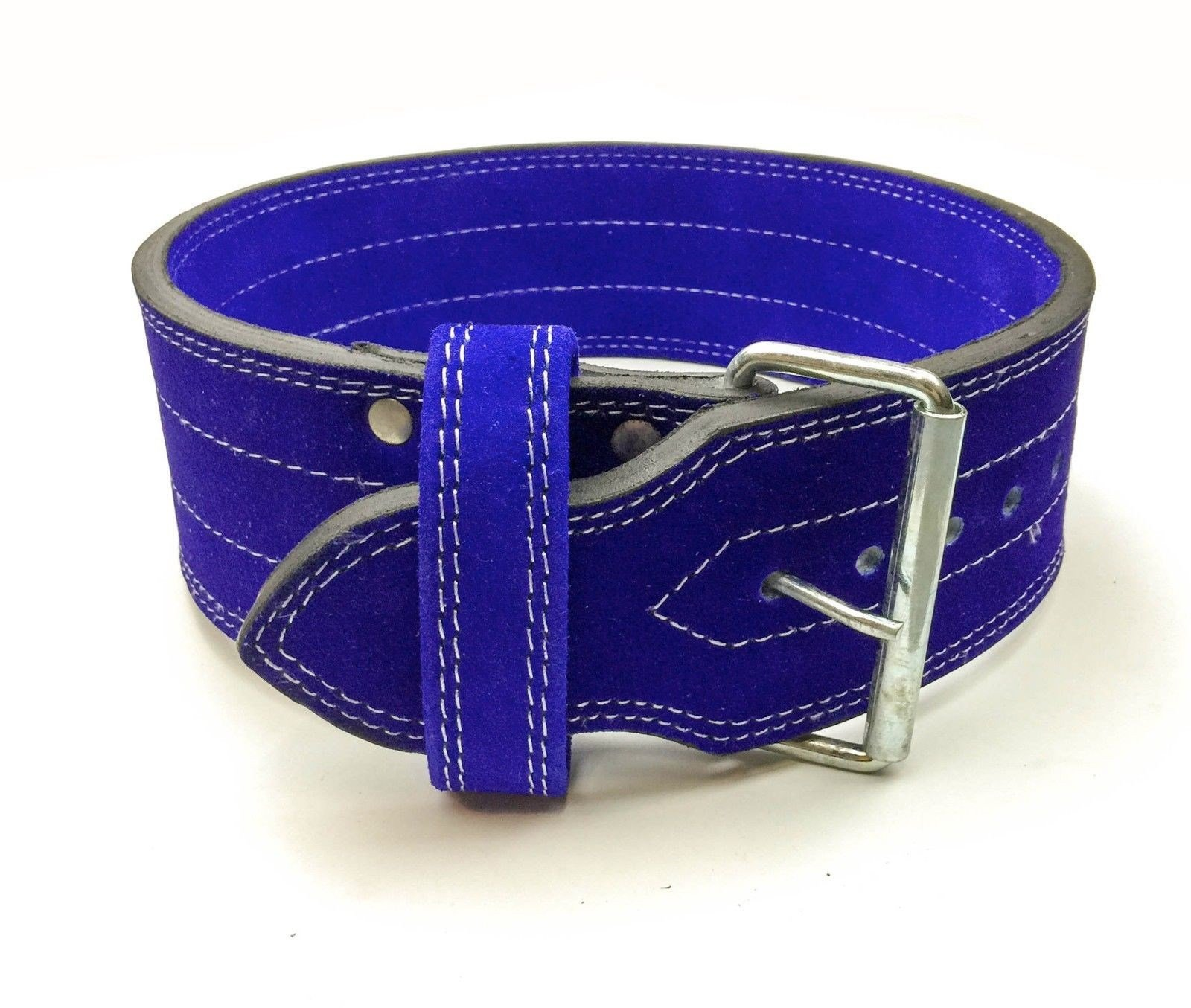 Flexz Fitness Single Prong Closure Powerlifting and Weightlifting Belt, 10mm, Blue, Size Small