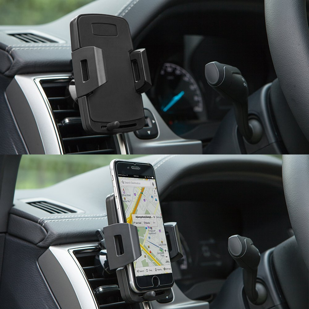 4351524776 Car Air Vent Mount Phone Holder Car Adjustable Car Phone Holder Cradle Compatible Samsung Galaxy S6 LG Nexus Sony Nokia More Black Emmabin Car Air Vent Mount