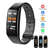Pulsera Inteligente Smartband Bluetooth,Multifuncional Smart watch Rastreador de fitness - Monitor de Ritmo cardiaco,Monitor De Presión Arterial, Contador de calorías, Monitor de oxígeno,Podómetro (contador de pasos) IP67 Impermeable para Hombres, Mujeres(Negro)