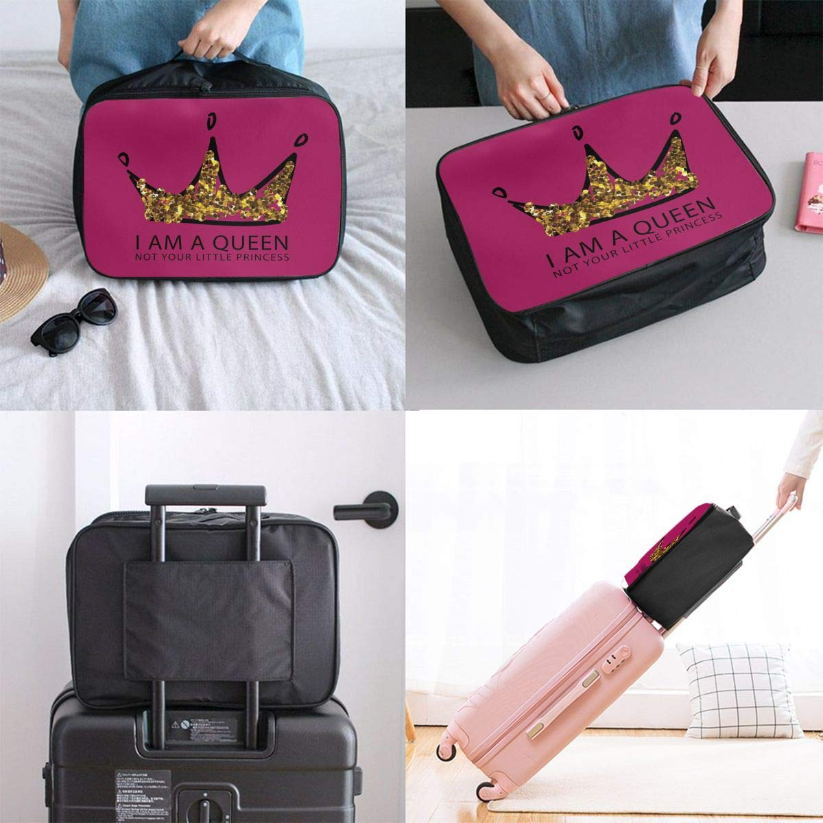 Travel Duffel Bag Waterproof Lightweight Large Capacity Duffel Tote Bag I Am A Queen Not Your Little Princess Portable Handbag For Travel Camping Sport