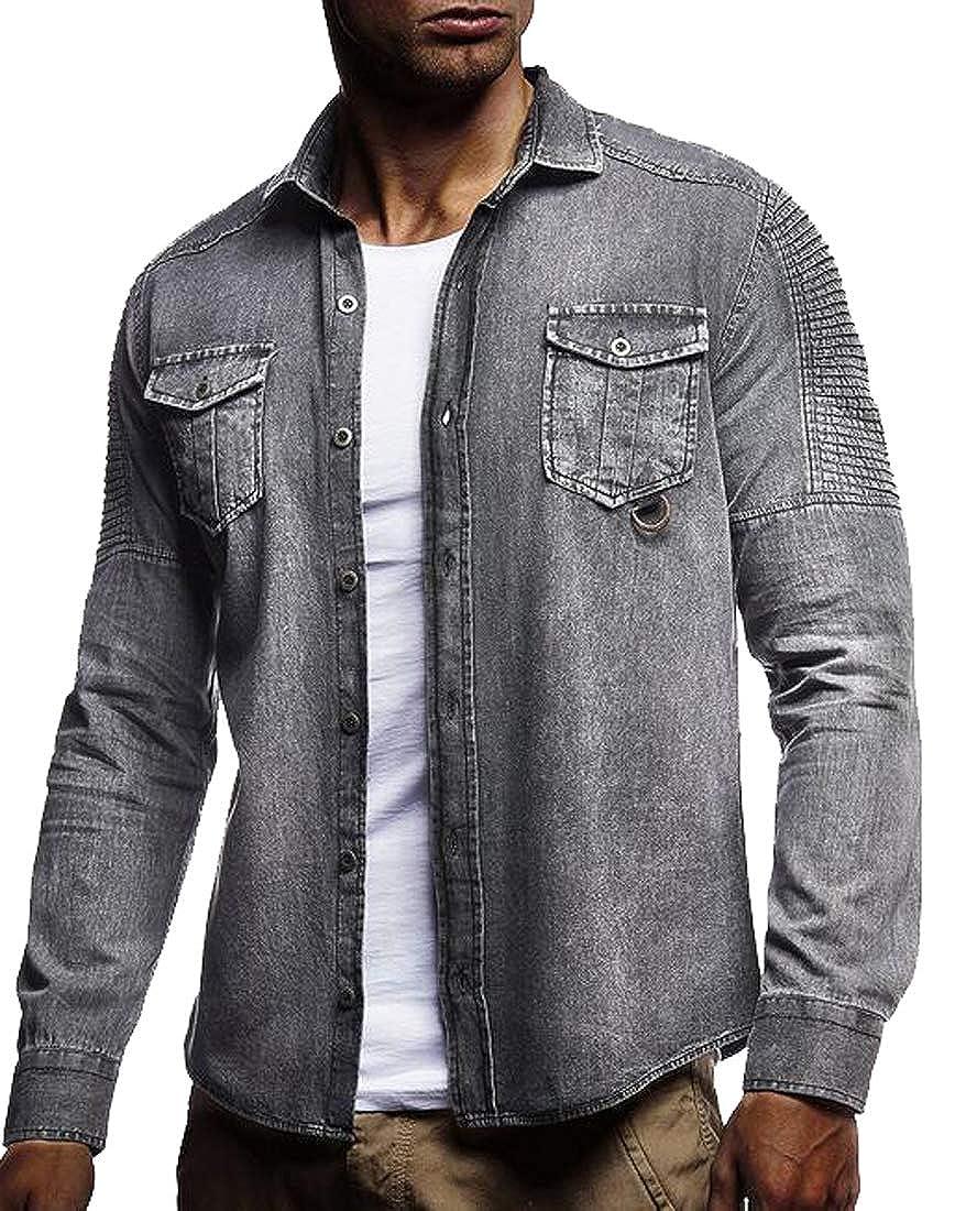 Jotebriyo Mens Washed Denim Button Down Plus Size Long Sleeve Ruched Dress Shirts
