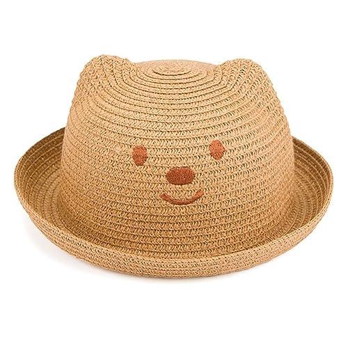 Leisial Niños Bebé Sombrero de Paja Playa Sombrero de Osoito Gorro de Sol  de Ocio al Deporte Aire Libre Verano para Unisex Niños c1787ebf685