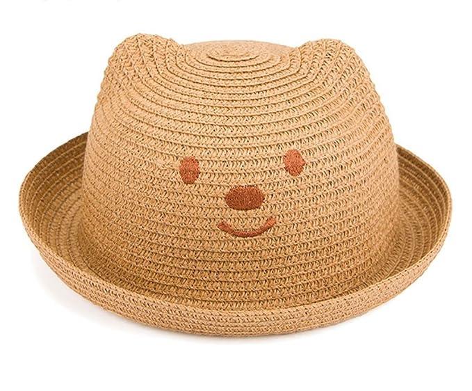 Leisial Niños Bebé Sombrero de Paja Playa Sombrero de Osoito Gorro de Sol  de Ocio al Deporte Aire Libre Verano para Unisex Niños  Amazon.es  Ropa y  ... 80e3c08c420