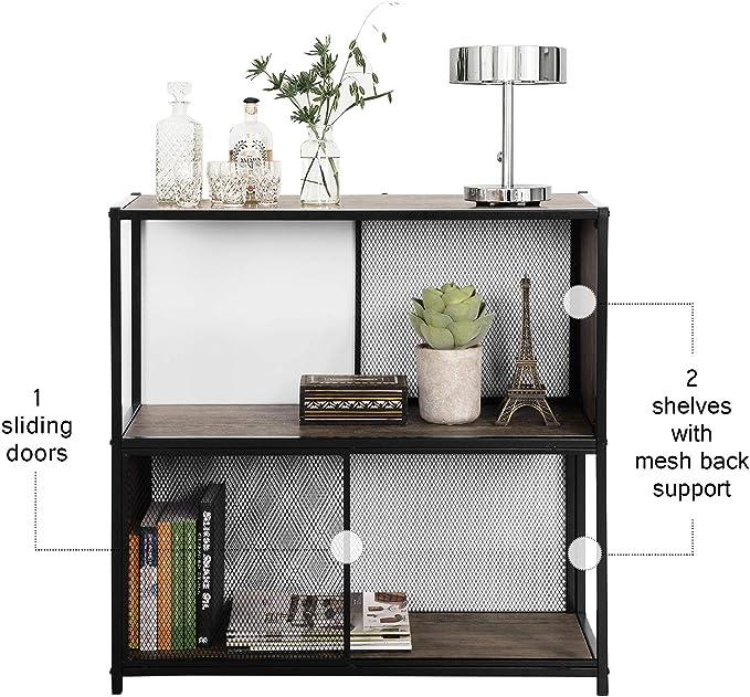 Yata Home - Estantería para librería de 2 o 3 Niveles, Mueble de Almacenamiento Vintage, Estructura metálica de Hierro Estable, para salón o Oficina: Amazon.es: Hogar