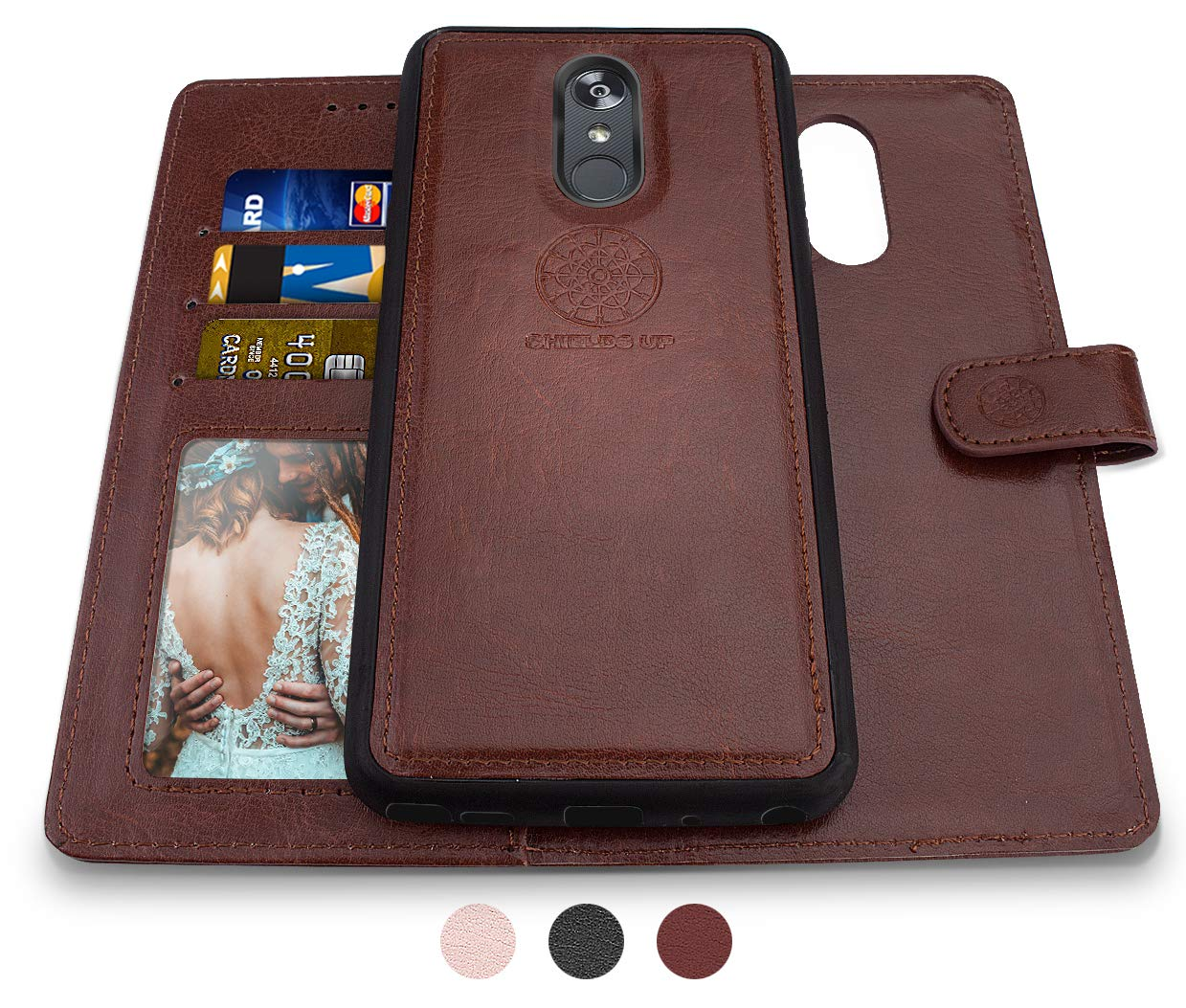 LG Stylo 4 Wallet Case, LG Stylo 4 Plus Case, LG Q Stylus Case, Shileds Up [Detachable] Slim Magnetic Case, Card/Cash Slots, [Vegan Leather] Cover for LG Stylo 4 Plus -Brown