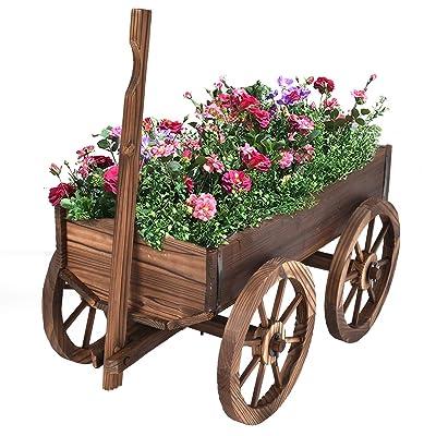 Giantex Wood Wagon Flower Planter Pot Stand W/Wheels Home Garden Outdoor Decor : Garden & Outdoor