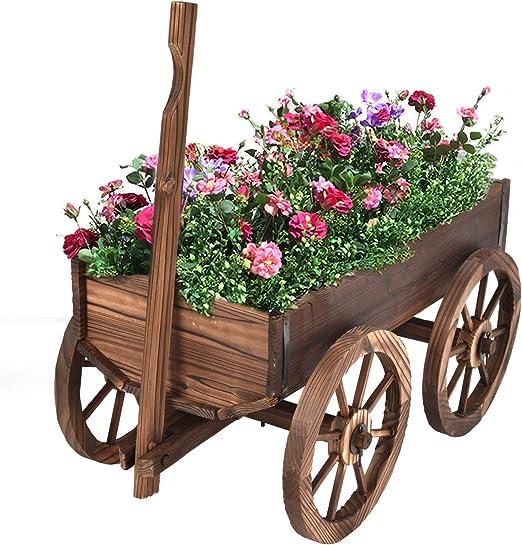 Giantex Madera Carro plantador de la Flor Pot Párese W/Ruedas Inicio decoración del jardín al Aire Libre: Amazon.es: Hogar