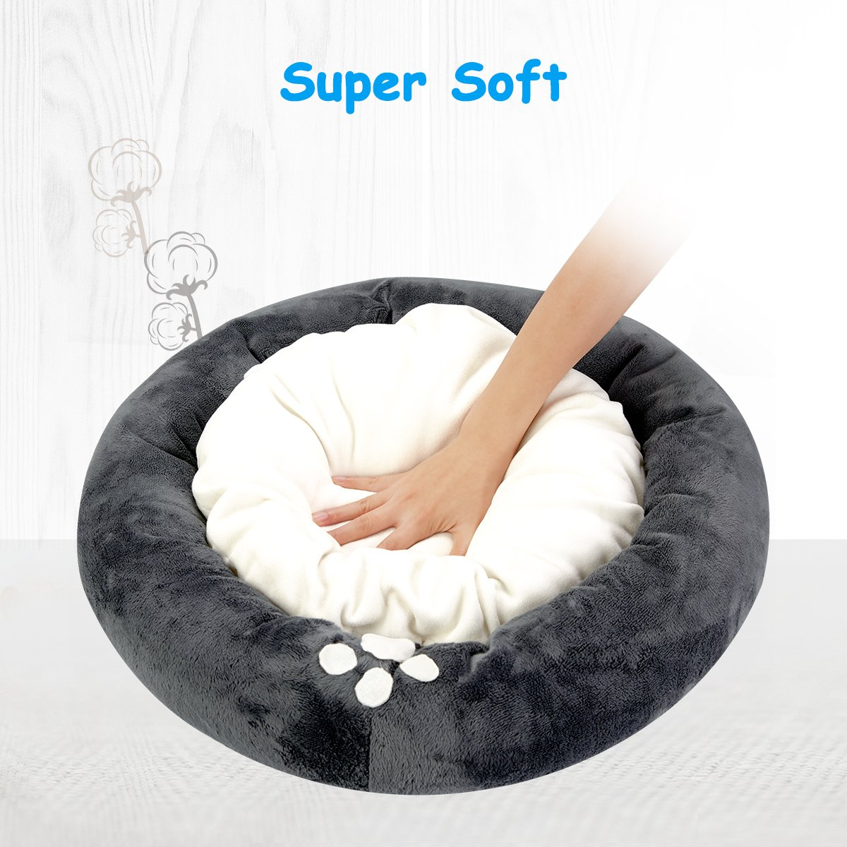 isYoung Cat & Dog Bed, Cozy Bed Warm Bed for Cats and Small Dogs with Anti-Slip Bottom and Separate Plush Cushion,Size:19.8 x 19.8 x4 inches