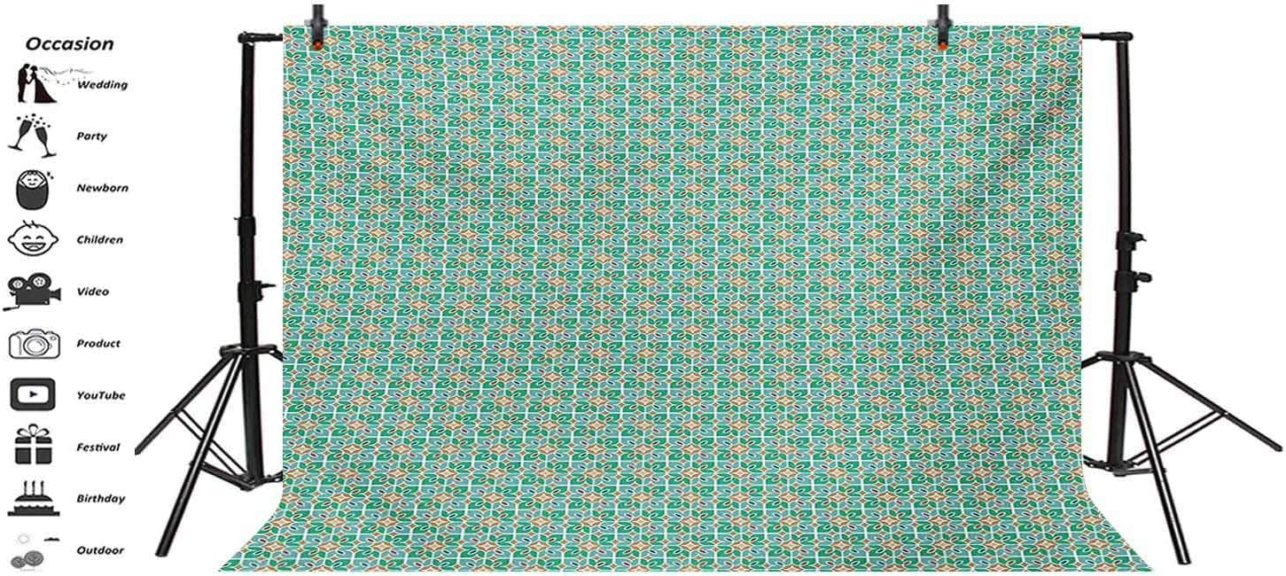 Teal and White 10x8 FT Vinyl Photography Backdrop,Floral Moroccan Mosaic Pattern Ancient Cultural Design Tile Background for Photo Backdrop Baby Newborn Photo Studio Props