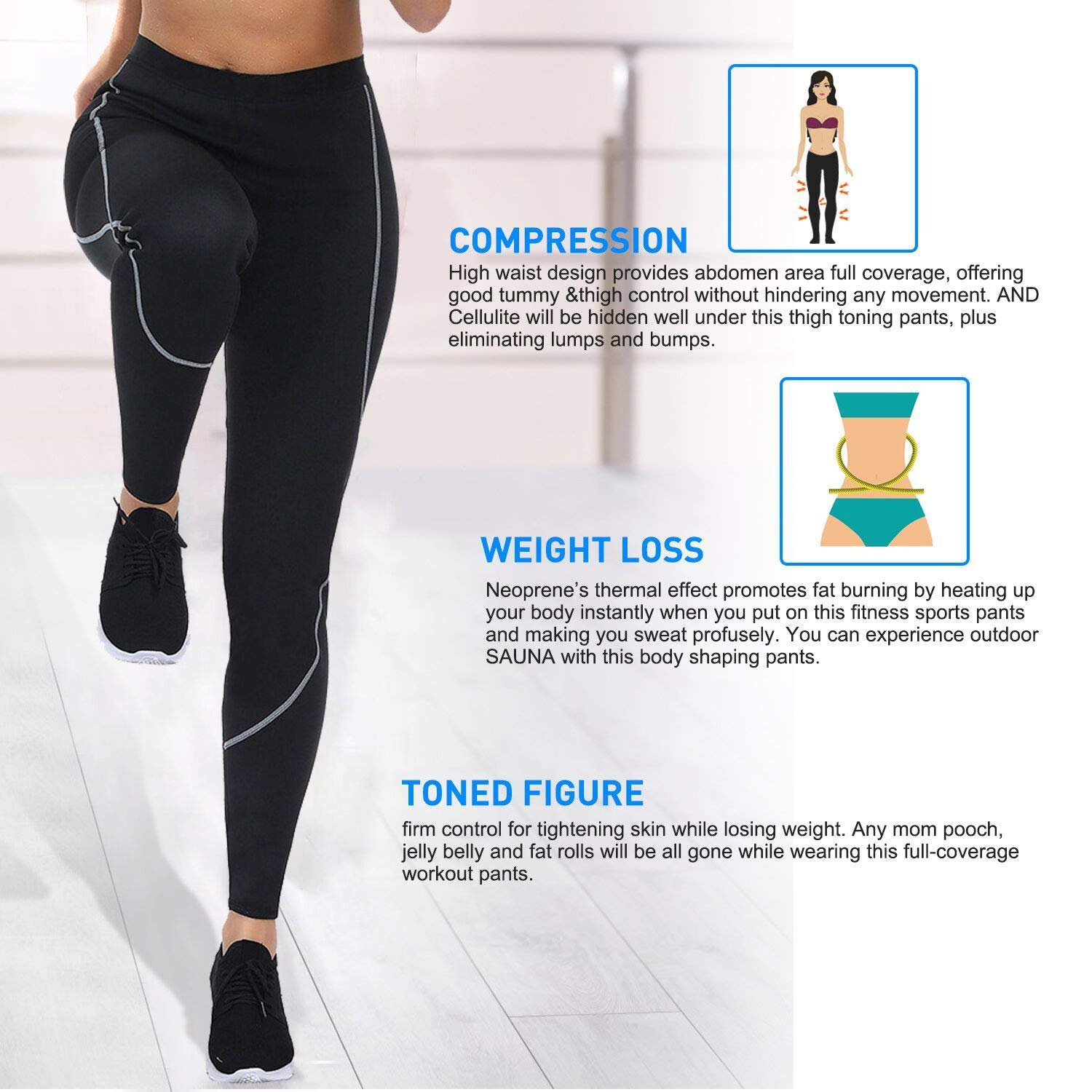 c741c913ff251 FeelinGirl Women s Weight Loss Calorie Burning Thigh Fat Burning Sweat  Sauna Pants with Side Pocket at Amazon Women s Clothing store
