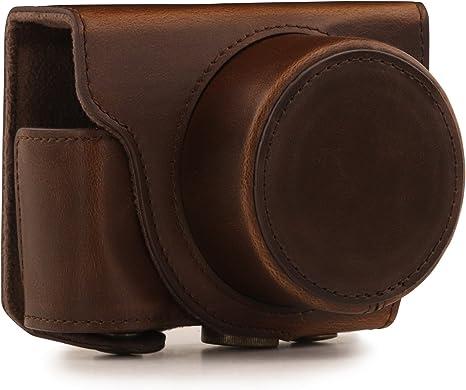 MegaGear - Funda Flexible de Piel para Nikon 1 J5 (10-30 mm) compacta. Color marrón Oscuro: Amazon.es: Electrónica