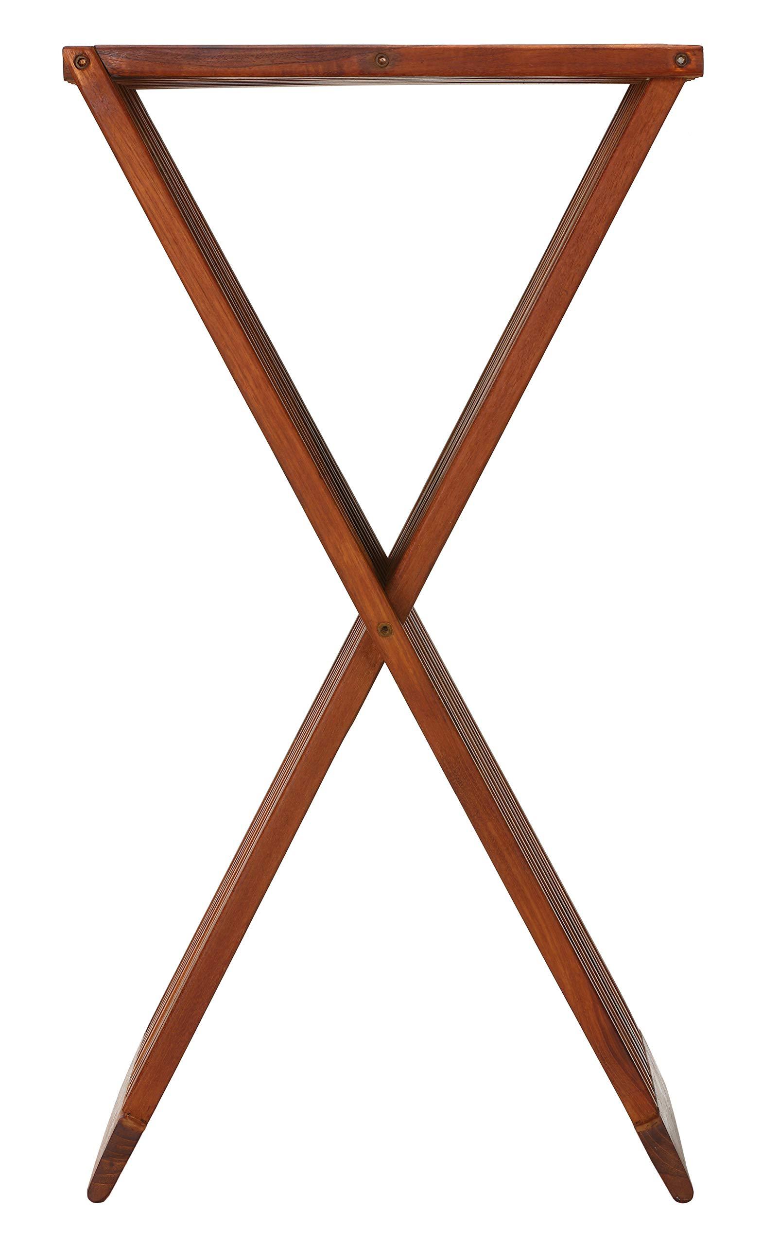 Bare Decor Taj Folding Plantstand Pedestal Table in Solid Teak Wood, Brown