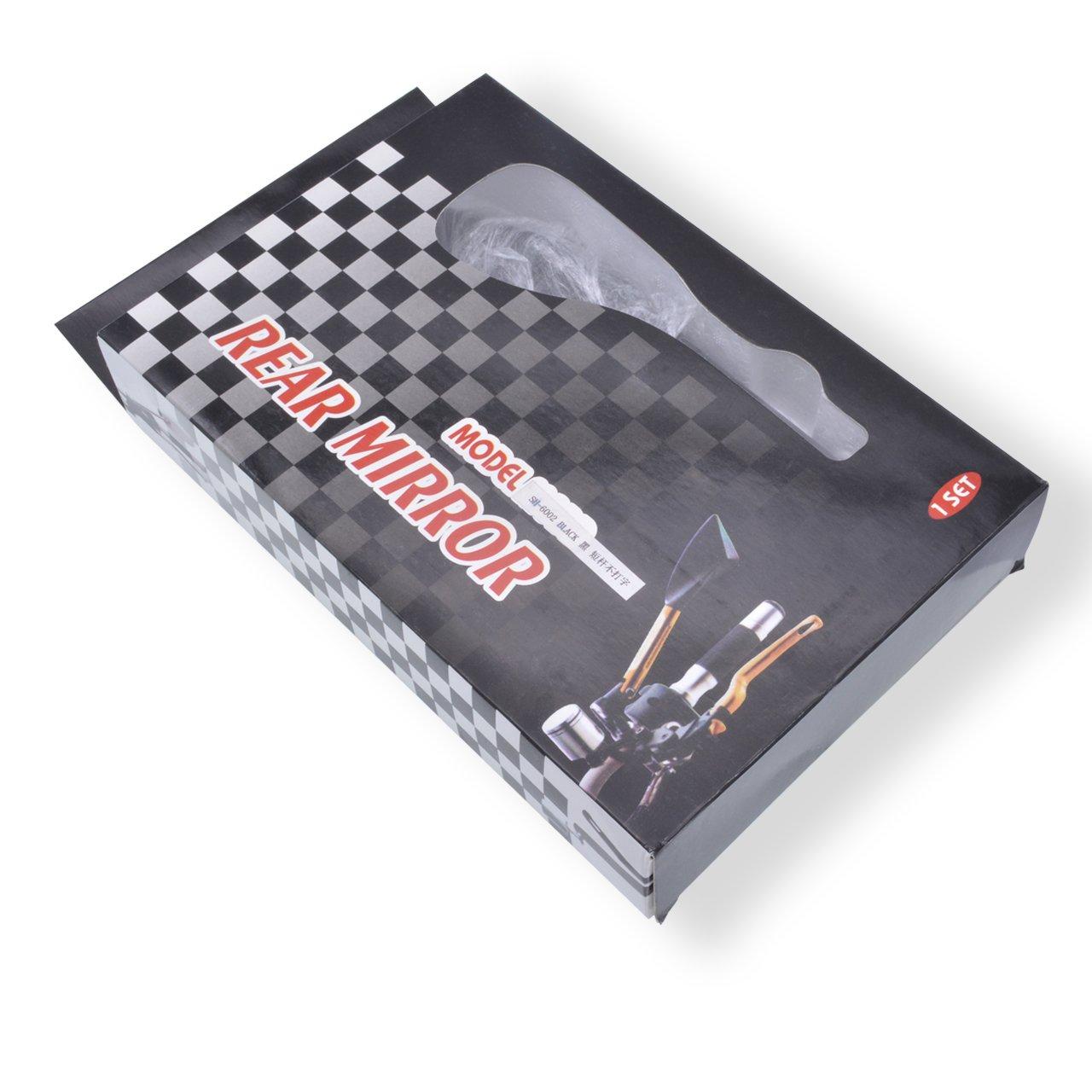 KATUR Specchi retrovisori Manubrio Moto Specchietto retrovisore Rosso Moto antiriflesso Specchi bluastri 8MM 10MM Bulloni filettati in Senso orario Supporti per Kawasaki Suzuki Honda Victory Chopper