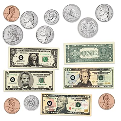 Learning Resources Double-sided Magnetic Money, Classroom Whiteboard Accessories, Teacher Aids, 45 Pieces, Ages 5+: Office Products