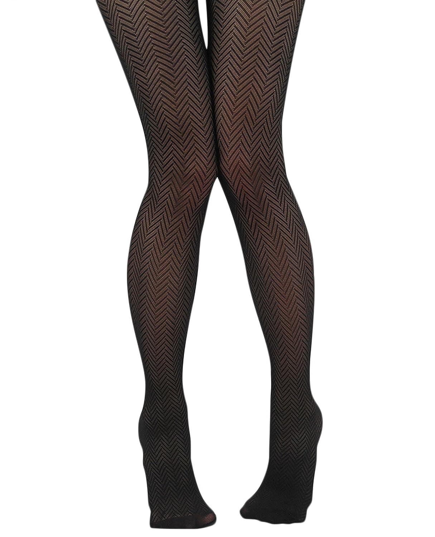 9e875fa4f3796 YourTights Herringbone Sheer Black Women's Tights Comfortable Light Control  Top Made in USA (Small / Medium: 4'11