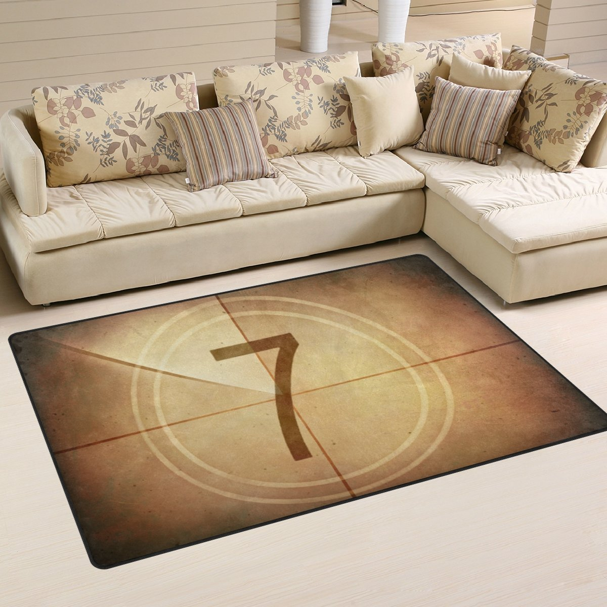 LORVIES Countdown Seven On The Old Movie Screen Area Rug Carpet Non-Slip Floor Mat Doormats for Living Room Bedroom 31 x 20 inches