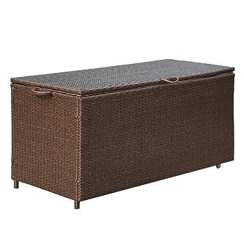 Storage Bin Deck Box PE Wicker Outdoor Patio Cushion Container Garden  Furniture, Brown