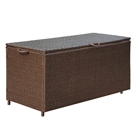 Storage Bin Deck Box PE Wicker Outdoor Patio Cushion Container Garden  Furniture, Brown