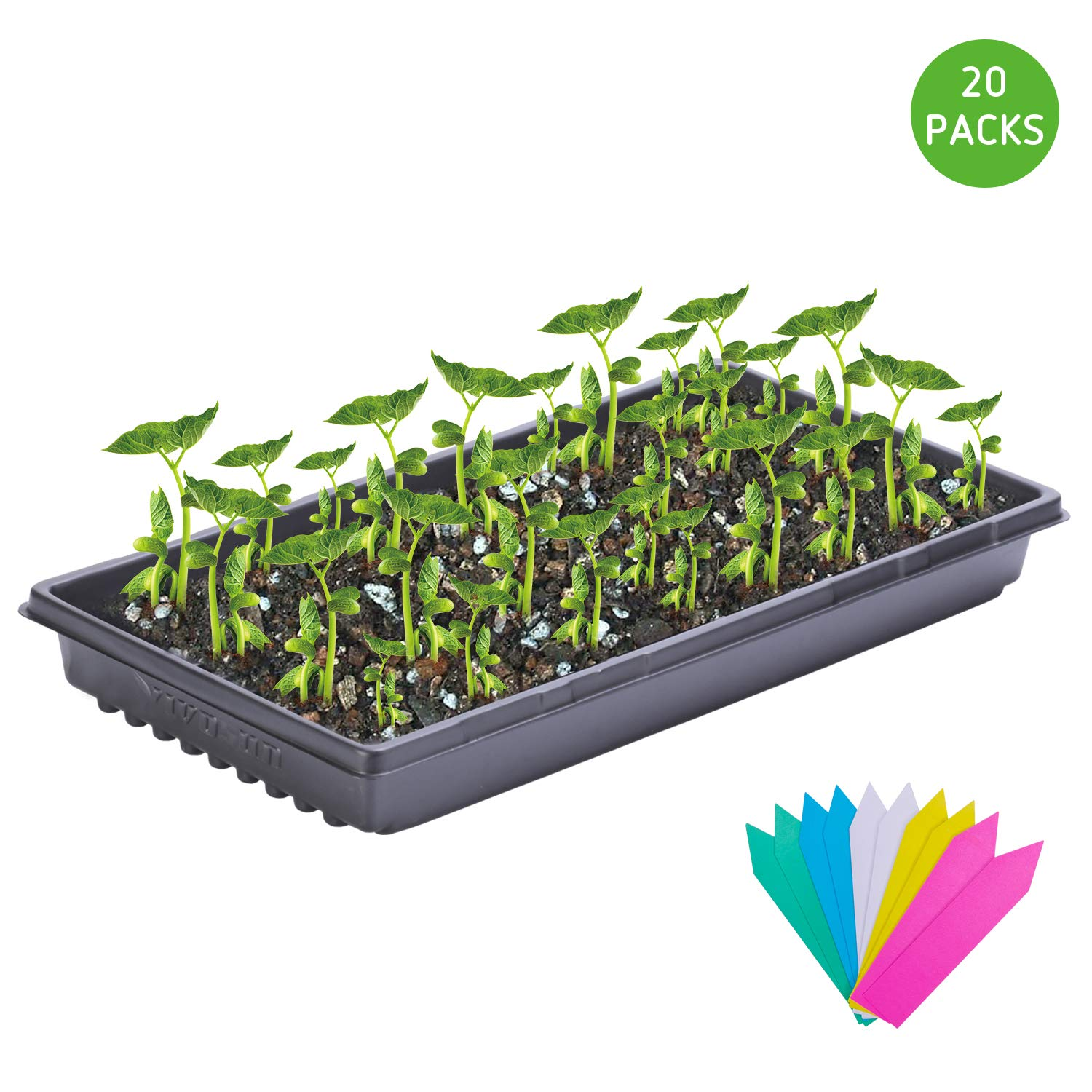 VIVOSUN 10x20 Inches Plant Growing Tray No Drain Holes Heavy Duty for Seed Starter, Plant Propagation Hydroponic Growing Pack of 20 by VIVOSUN