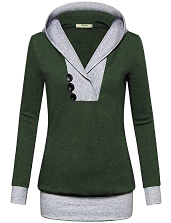 91185e96 Miusey Womens Long Sleeve Color Block Lightweight Pullover Sweatshirt  Hoodies Stylish Modern Female Outfit Feminine Pop