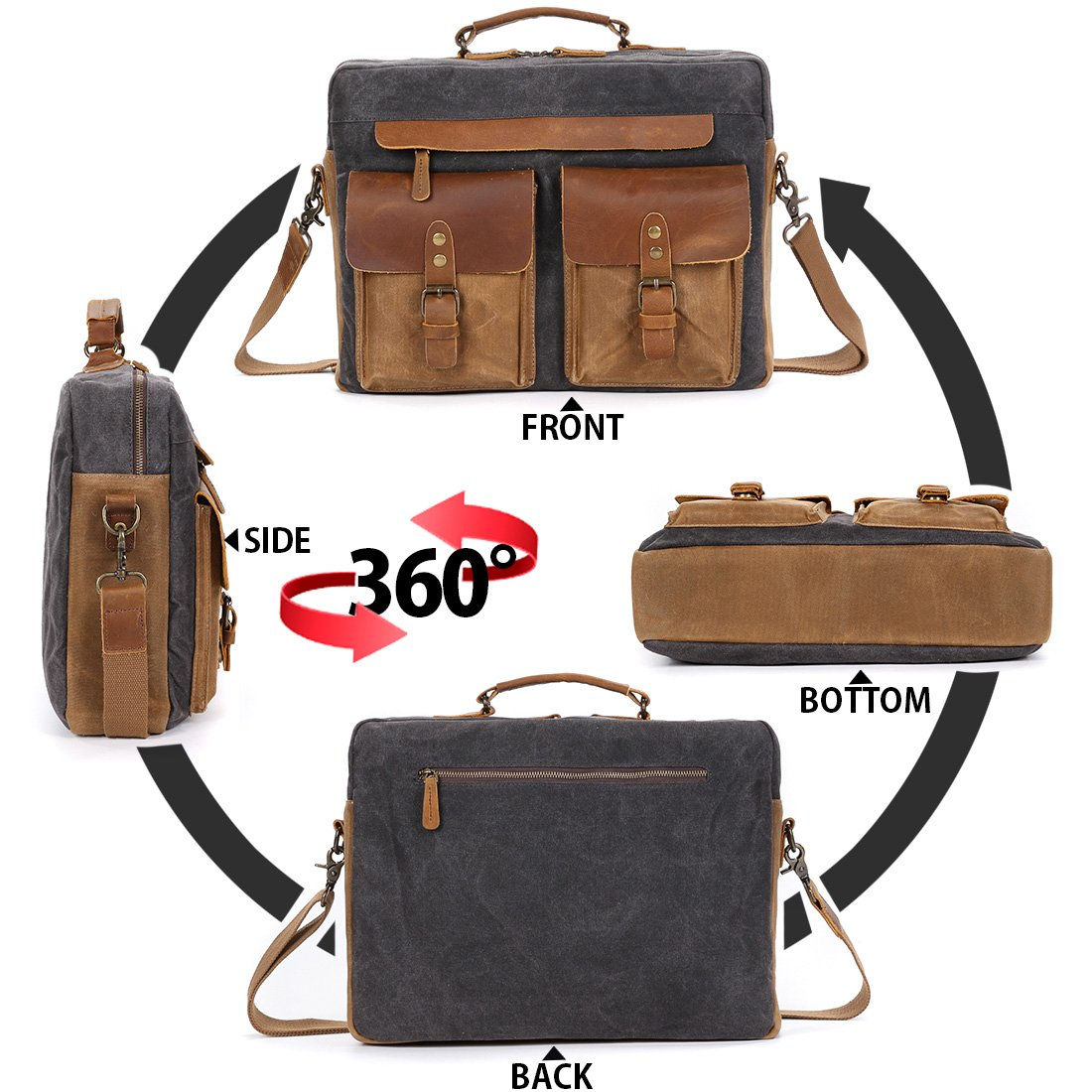 4c6d193766 NEWHEY Mens 15.6 Laptop Messenger Bag Water Resistant Shoulder Computer  School Work Bags Canvas Leather Briefcase Vintage Satchel Grey