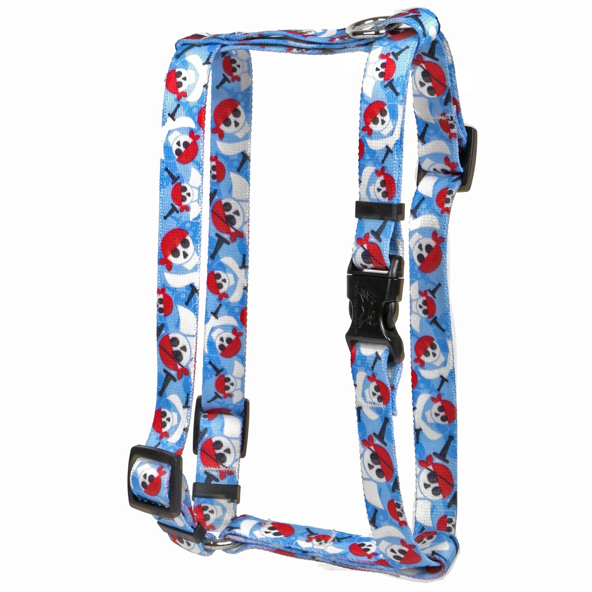 Yellow Dog Design Pirate Skulls Roman Style H Dog Harness, Large-1'' Wide and fits Chest of 20 to 28''