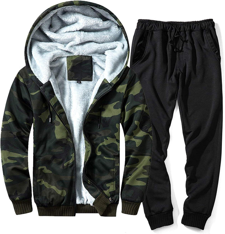Men Warm Tracksuit Fur Inside Set Mens Thick Fleece Jackets+Pants Camouflage Suit Hoodies Sweatshirts