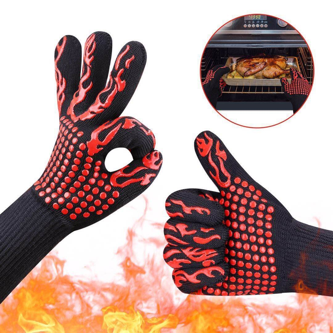 Dealzip Inc BBQ Grilling Cooking Gloves,932℉ Extreme Heat Resistant Kitchen Baking Oven and Welding Mittens Gloves-(Red Torch, 2Pcs)