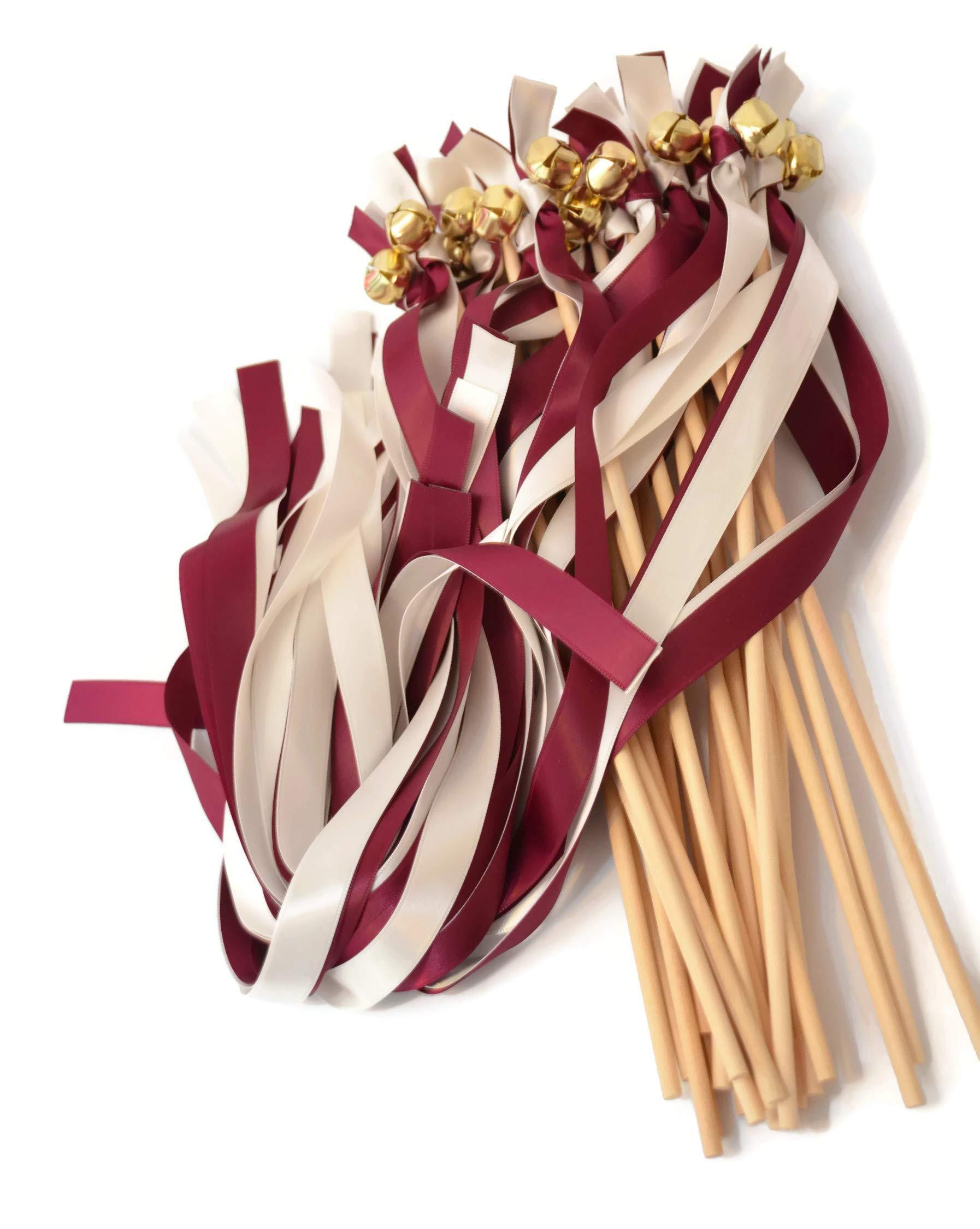 25 Burgundy & Ivory Ribbon Gold Bell Wedding Wands #DivinityBraid #SendOffBells #WeddingWands #Wedding #Favors #CeremonySendOff #Party #KissingBells #RibbonWands by Divinity Braid by ASV Weddings
