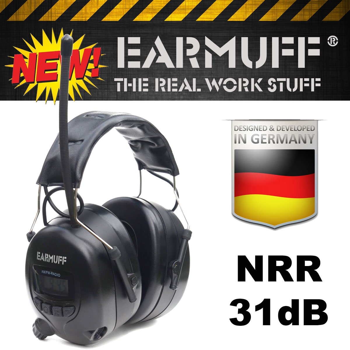 ''BLACK'' edition Ear Defender original ''EARMUFF'' Digital AM FM MP3 / Smart phone Radio HEADPHONES Hearing PROTECTOR Ear Muffs by EARMUFF