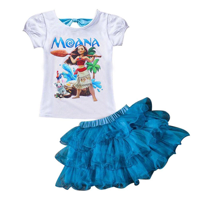 082c12aa431 Moana Little Girls  2Pcs Suit Cartoon Shirt and Skirt Set