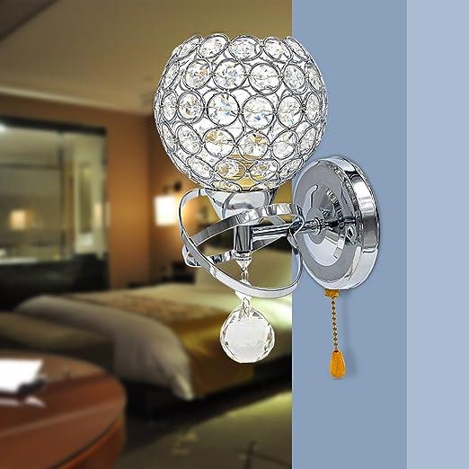 Reelva modern silver crystal wall lights bedroom wall lamp sconce reelva modern silver crystal wall lights bedroom wall lamp sconce pull switch for home decor sitting aloadofball Images