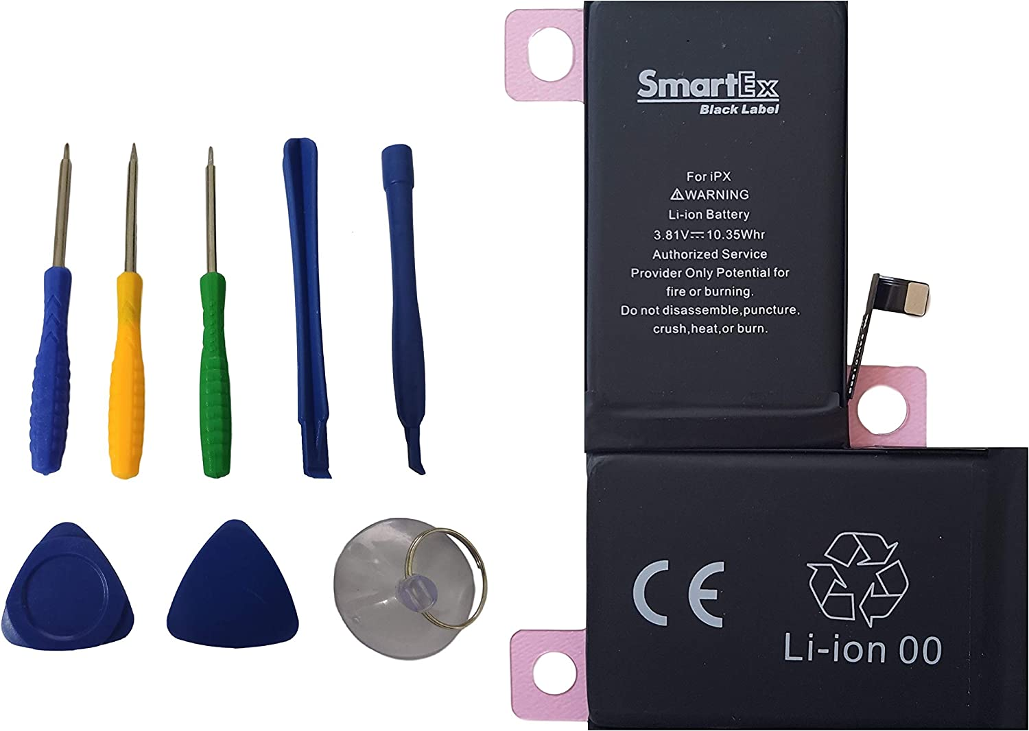 Smartex® Black Label Baterìa Compatible con iPhone X  + Kit de Herramientas - 2716 mAh / 2019 Año de producción