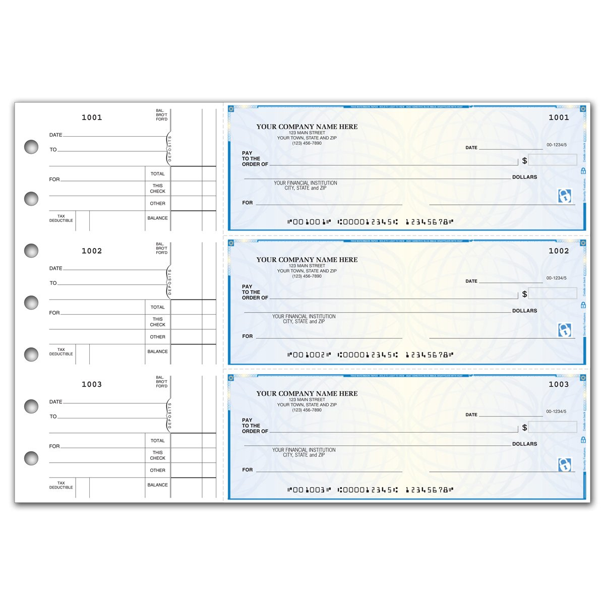 Secure 3-On-A-Page All Purpose Manual Business Checks with Voucher (50 qty) - Custom CheckSimple
