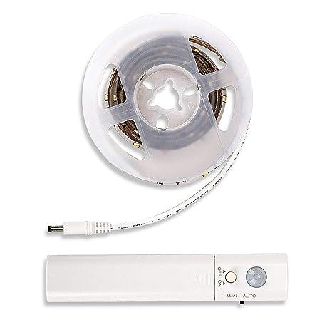 Sensor de movimiento, luces LED flexibles, funciona con pilas, se ...