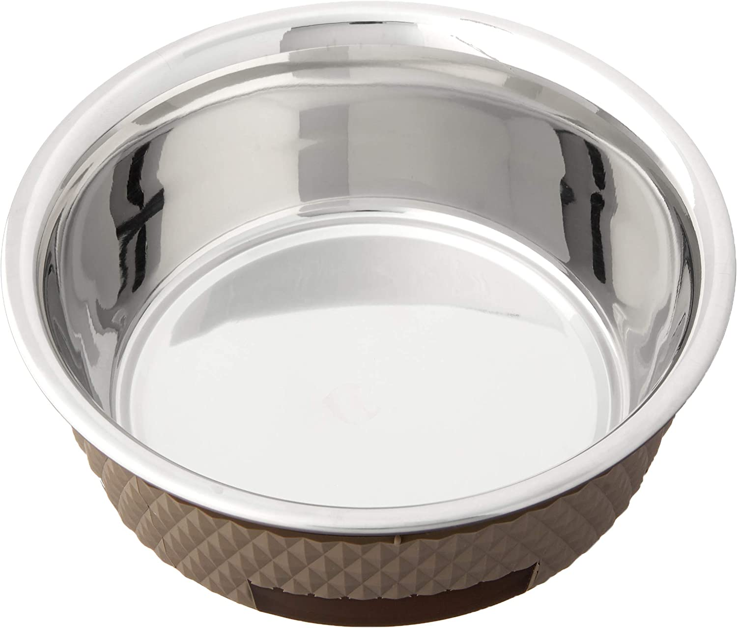 PetRageous 16016 Kona Stainless-Steel Non-Slip Dishwasher Safe Dog Bowl 3.75-Cup 6.75-Inch Diameter 2.5-Inch Tall for Medium and Large Dogs and Cats 30-Ounce, Taupe