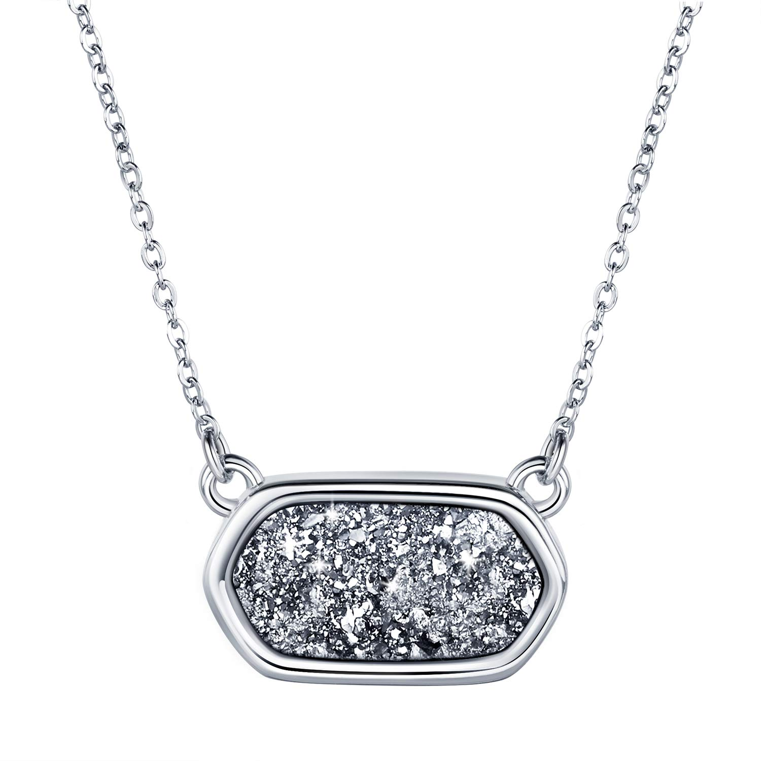 WISHMISS MOOM Eyes Druzy Necklace for Women, Nice Gift Box and Inspirational Gift Card, 18''+ 2'' Extender (Love Card)